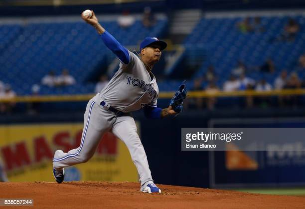 Pitcher Marcus Stroman of the Toronto Blue Jays pitches during the first inning of a game against the Tampa Bay Rays on August 23 2017 at Tropicana...