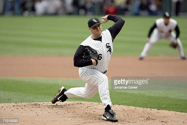 Pitcher Mark Buehrle of the Chicago White Sox delivers a pitch against the Chicago Cubs on May 19 2006 at US Cellular Field in Chicago Illinois The...