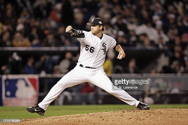 Pitcher Mark Buehrle of the Chicago White Sox in action during Game 2 of the 2005 World Series against the Houston Astros at US Cellular Field in...