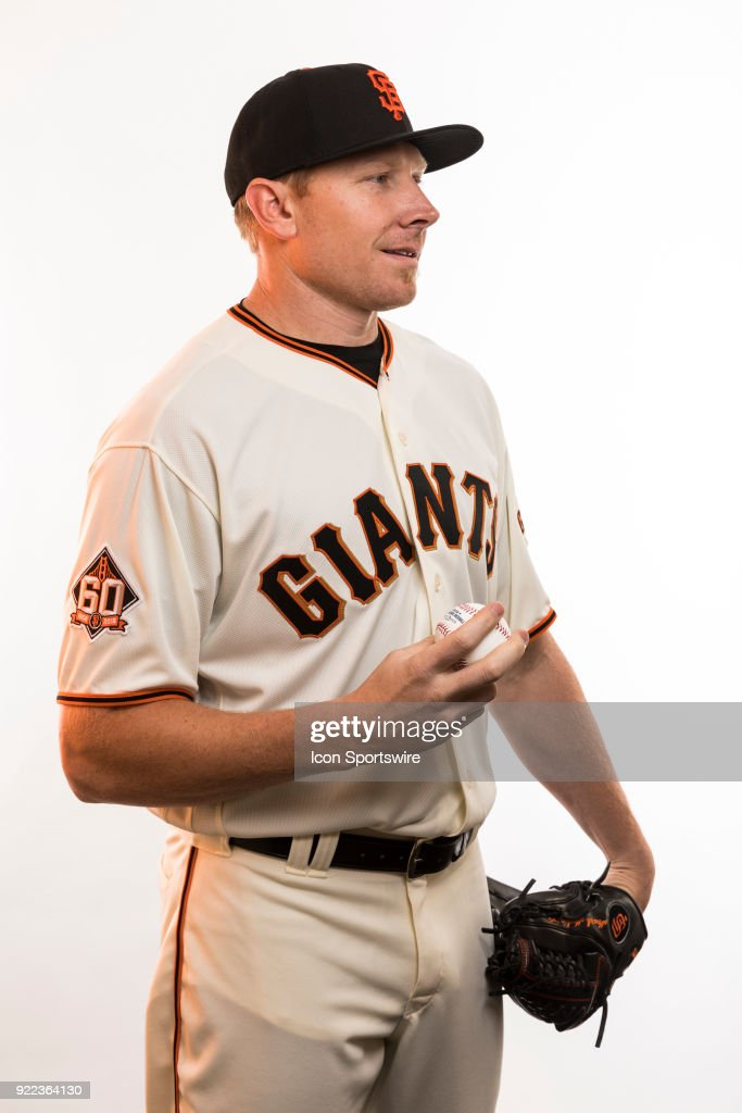 Pitcher Mark Melancon (41) poses for a photo during the San Francisco Giants photo day on Tuesday, Feb. 20, 2018 at Scottsdale Stadium in Scottsdale, Ariz.