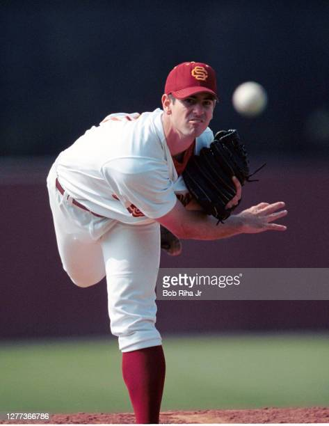 Pitcher Mark Prior was the player drafted in the 2001 MLB baseball draft during game action on August 21,2000 in Los Angeles, California.