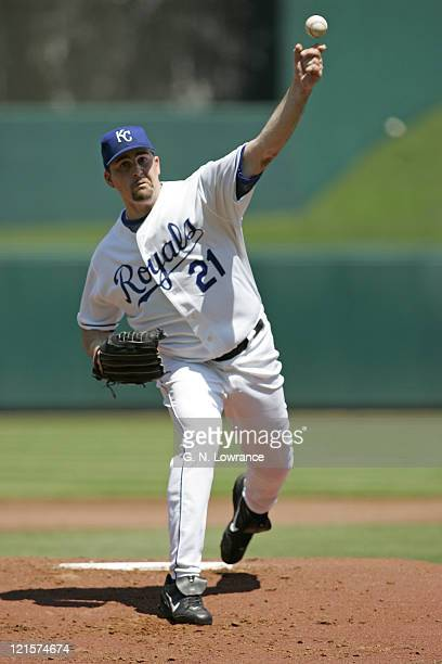Pitcher Mark Redman of the Kansas City Royals throws a pitch during action against the Minnesota Twins at Kauffman Stadium in Kansas City Missouri on...