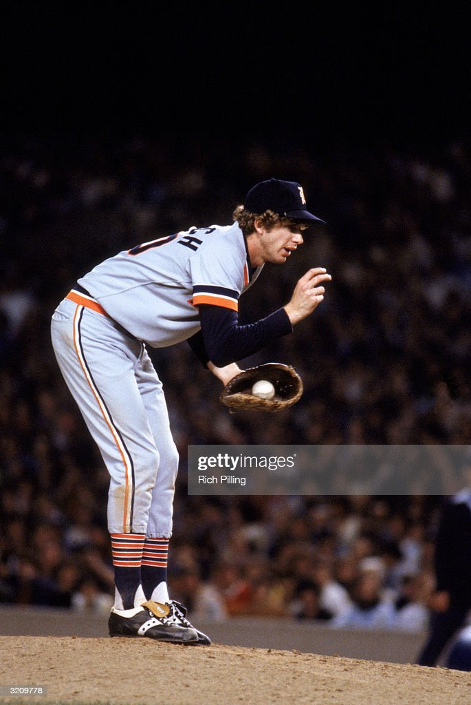 Pitcher Mark 'The Bird' Fidrych #20 of the Detroit Tigers on the mound during a game in the 1979 season.