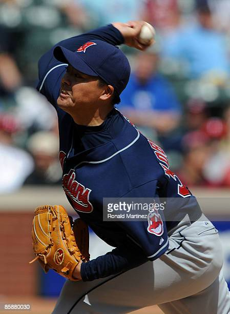 Pitcher Masa Kobayashi of the Cleveland Indians throws against the Texas Rangers on April 9 2009 at Rangers Ballpark in Arlington Texas