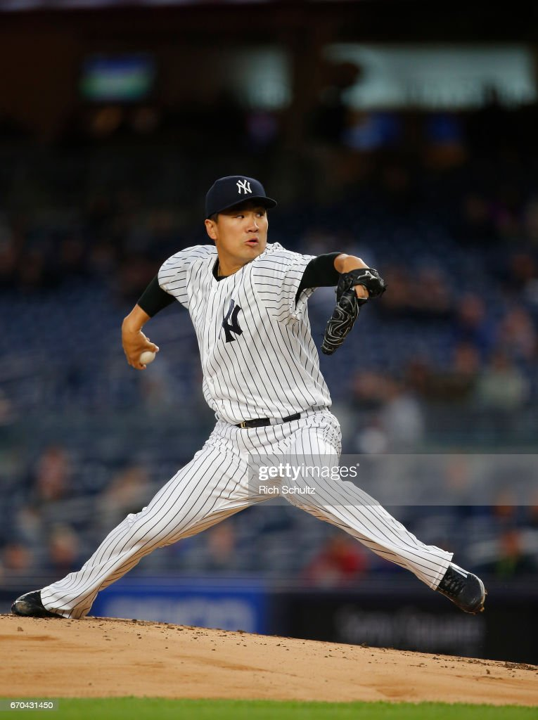 Pitcher Masahiro Tanaka #19 of the New York Yankees delivers a pitch against the Chicago White Sox during the first inning of a game at Yankee Stadium on April 19, 2017 in New York City. The Yankees defeated the White Sox 9-1.