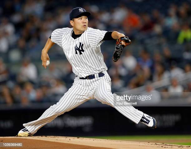Pitcher Masahiro Tanaka of the New York Yankees in action in an MLB baseball game against the Toronto Blue Jays on September 14 2018 at Yankee...