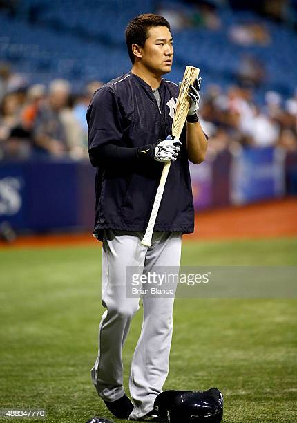 Pitcher Masahiro Tanaka of the New York Yankees waits to take batting practice before the start of a game against the Tampa Bay Rays on September 15,...