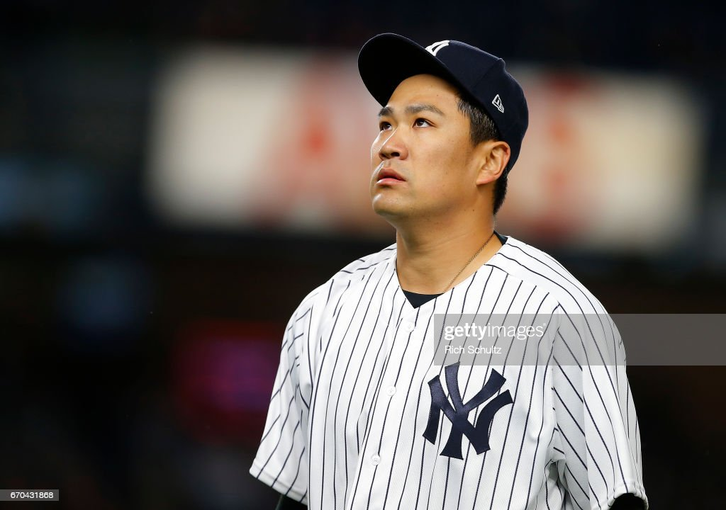 Pitcher Masahiro Tanaka #19 of the New York Yankees walks off the mound after getting the final out in the fourth inning against the Chicago White Sox during a game at Yankee Stadium on April 19, 2017 in New York City. The Yankees defeated the White Sox 9-1.