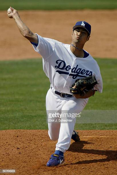 Pitcher Masao Kida of the Los Angeles Dodgers in action against the New York Mets during Spring Training March 3 2004 at Holman Stadium in Vero Beach...
