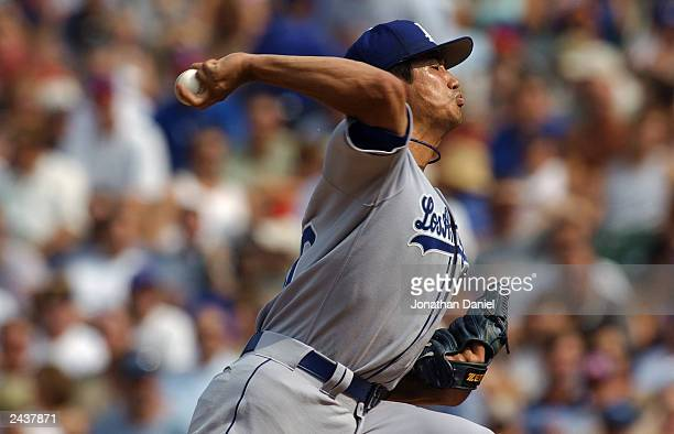 Pitcher Masao Kida starting his first game for the Los Angeles Dodgers delivers a pitch to a Chicago Cubs batter during the National League game at...