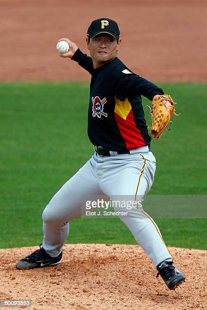 Pitcher Masumi Kuwata of the Pittsburgh Pirates delivers a pitch against the Philadelphia Phillies during a Spring Training game at Bright House...