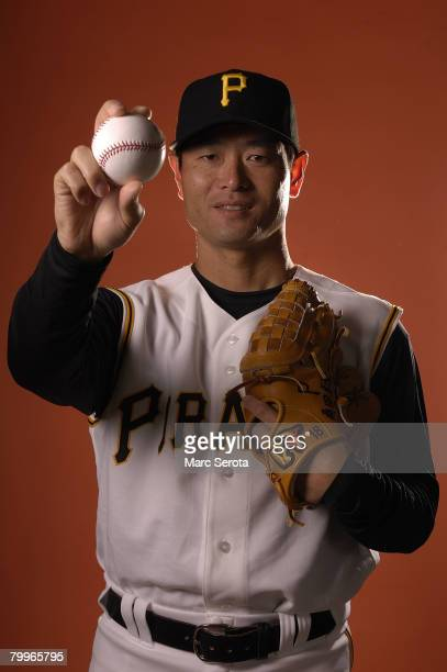 Pitcher Masumi Kuwata of the Pittsburgh Pirates enters a photo booth to take pictures during spring training media day on February 24 2008 at Pirate...