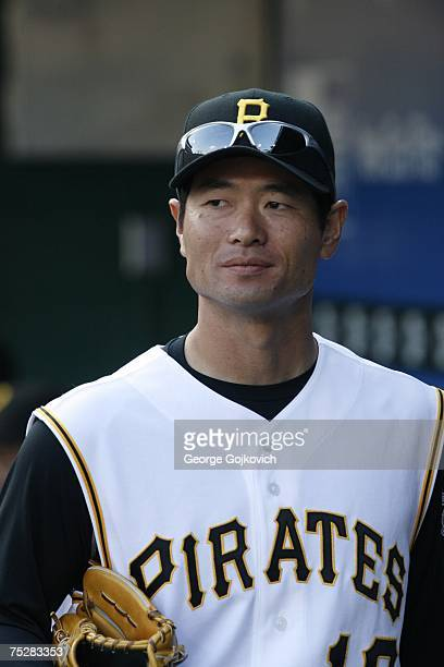 Pitcher Masumi Kuwata of the Pittsburgh Pirates in the dugout before a game against the Chicago White Sox at PNC Park on June 16 2007 in Pittsburgh...