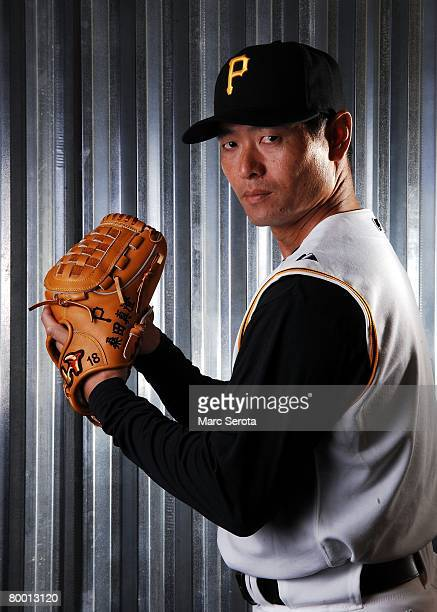 Pitcher Masumi Kuwata of the Pittsburgh Pirates poses for a photo during spring training media day on February 24 2008 at Pirate City in Bradenton...