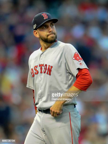 Pitcher Matt Barnes of the Boston Red Sox walks off the field during Game 2 of the American League Division Series against the Cleveland Indians on...