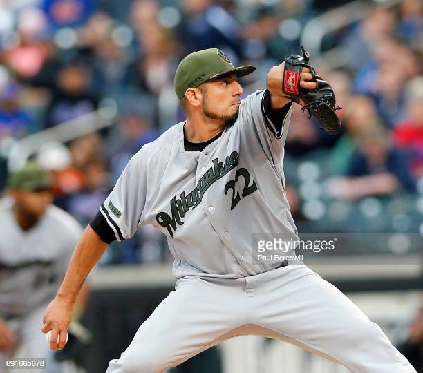 Pitcher Matt Garza of the Milwaukee Brewers pitches in an MLB baseball game against the New York Mets on May 29 2017 at CitiField in the Queens...