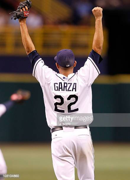 Pitcher Matt Garza of the Tampa Bay Rays celebrates his no hitter against the Detroit Tigers during the game at Tropicana Field on July 26 2010 in St...