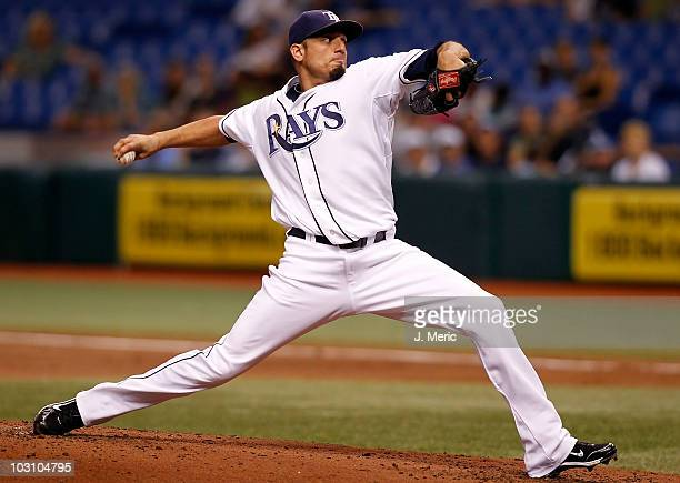 Pitcher Matt Garza of the Tampa Bay Rays pitches against the Detroit Tigers during the game at Tropicana Field on July 26 2010 in St Petersburg...