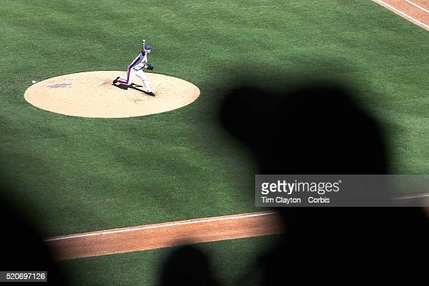 Pitcher Matt Harvey New York Mets pitching during the New York Mets Vs Philadelphia Phillies Mets home opener at Citi Field on April 10 2016 in New...