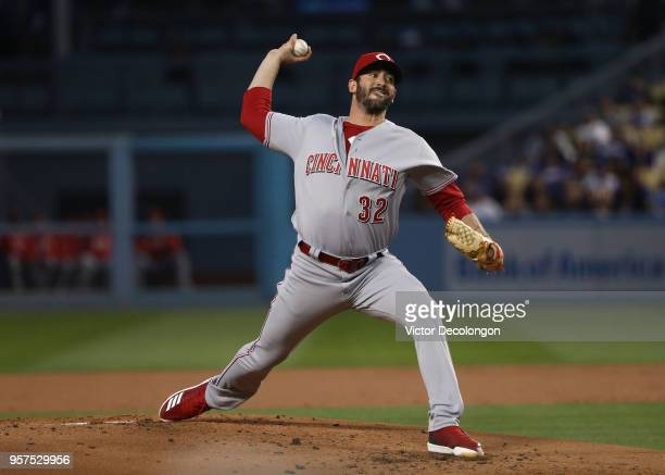Pitcher Matt Harvey of the Cincinnati Reds pitches in the first inning during the MLB game against the Los Angeles Dodgers at Dodger Stadium on May...