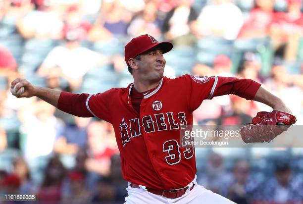 Pitcher Matt Harvey of the Los Angeles Angels of Anaheim pitches in the first innning of the MLB game against the Seattle Mariners at Angel Stadium...
