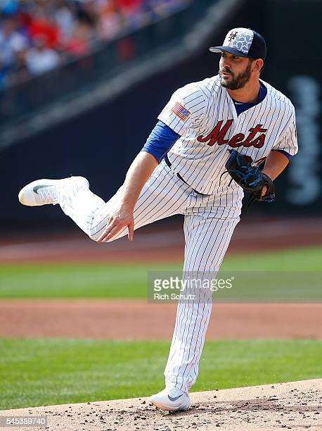 Pitcher Matt Harvey of the New York Mets delivers a pitch against the Miami Marlins in the second inning during a game at Citi Field on July 4 2016...