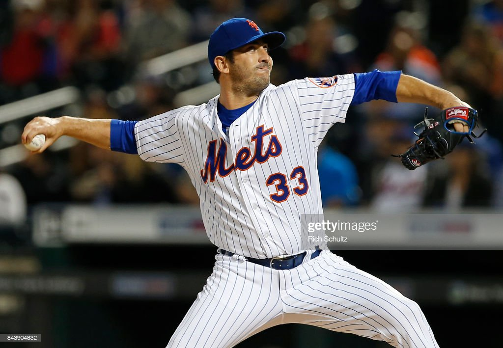 Pitcher Matt Harvey #33 of the New York Mets delivers a pitch against the Cincinnati Reds during the second inning of a game at Citi Field on September 7, 2017 in the Flushing neighborhood of the Queens borough of New York City.