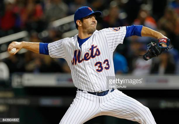 Pitcher Matt Harvey of the New York Mets delivers a pitch against the Cincinnati Reds during the second inning of a game at Citi Field on September 7...