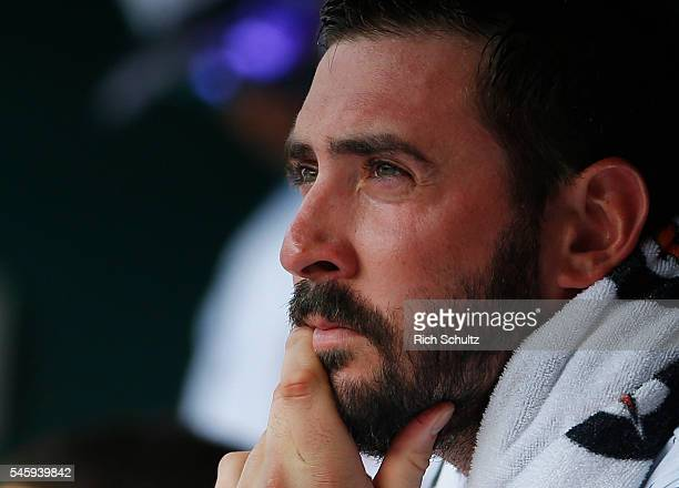 Pitcher Matt Harvey of the New York Mets in the dugout against the Miami Marlins between innings during a game at Citi Field on July 4 2016 in the...