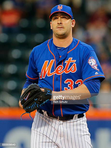 Pitcher Matt Harvey of the New York Mets on the mound against the Washington Nationals at Citi Field on May 19 2016 in the Flushing neighborhood of...