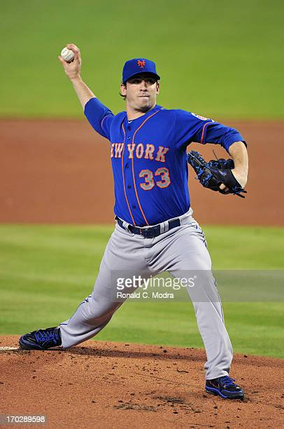 Pitcher Matt Harvey of the New York Mets pitches during a MLB game against the Miami Marlins at Marlins Park on June 2, 2013 in Miami, Florida.