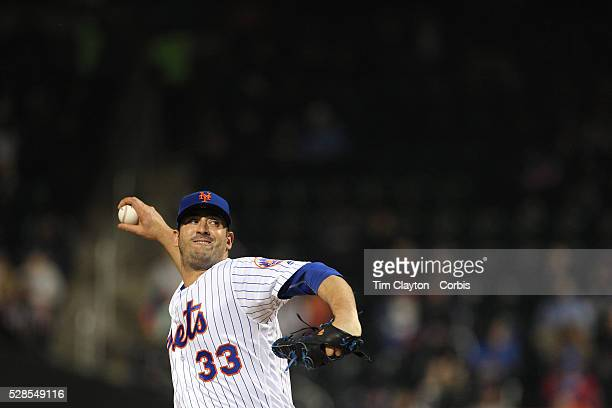 Pitcher Matt Harvey of the New York Mets pitching during the Atlanta Braves Vs New York Mets MLB regular season game at Citi Field on May 03 2016 in...