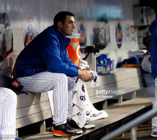 Pitcher Matt Harvey of the New York Mets reacts in the dugout between innings in an MLB baseball game against the Milwaukee Brewers on April 14 2018...