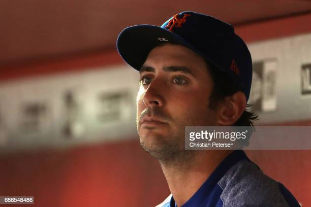 Pitcher Matt Harvey of the New York Mets sits in the dugout during the MLB game against the Arizona Diamondbacks at Chase Field on May 15, 2017 in...