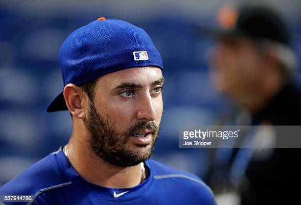 Pitcher Matt Harvey of the New York Mets speaks with guests before the game against the New York Mets at Marlins Park on June 3 2016 in Miami Florida