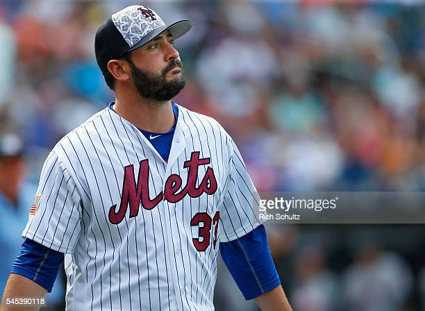Pitcher Matt Harvey of the New York Mets walks off the field against the Miami Marlins after the second inning during a game at Citi Field on July 4...