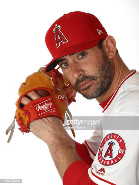 Pitcher Matt Harvey poses for a portrait during Los Angeles Angels of Anaheim photo day on February 19 2019 in Tempe Arizona