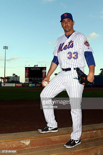 Pitcher Matt Harvey poses for photos during media day at Traditions Field on March 1 2016 in Port St Lucie Florida