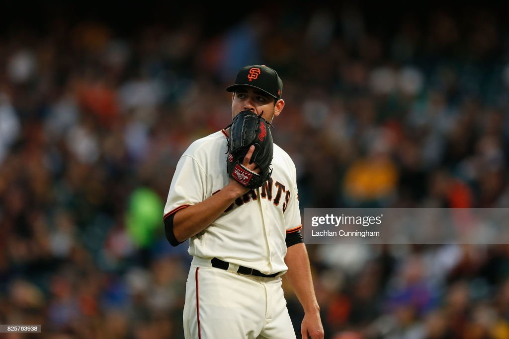 Pitcher Matt Moore #45 of the San Francisco Giants leaves the field after the top of the third inning against the Oakland Athletics in an interleague game at AT&T Park on August 2, 2017 in San Francisco, California.