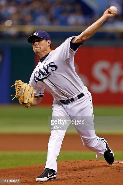 Pitcher Matt Moore of the Tampa Bay Rays pitches against the Oakland Athletics during the game at Tropicana Field on August 24 2012 in St Petersburg...