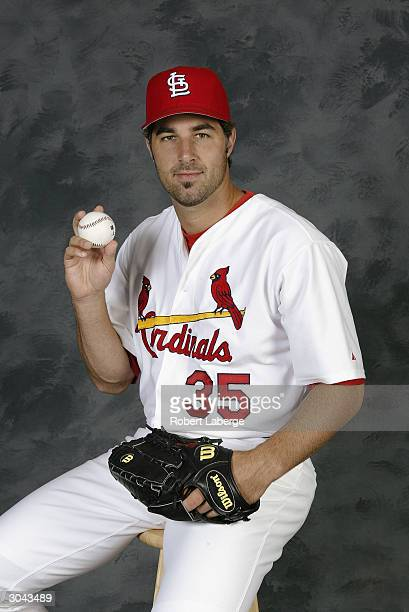 Pitcher Matt Morris of the St Louis Cardinals during Cardinals SpringTraining Photo Day on March 1 2004 at Roger Dean Stadium in Jupiter Florida