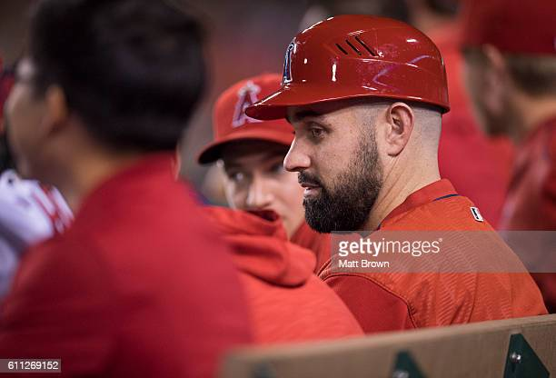 Pitcher Matt Shoemaker of the Los Angeles Angels of Anaheim sits in the dugout during the game against the Oakland Athletics at Angel Stadium of...
