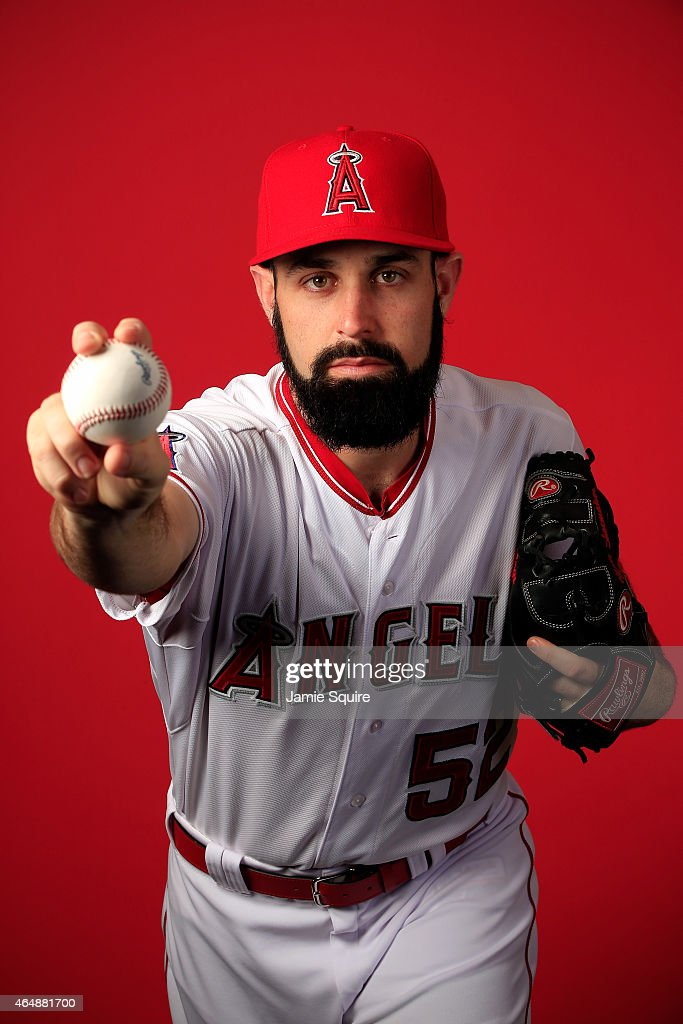 Pitcher Matt Shoemaker #52 poses during Los Angeles Angels of Anaheim Photo Day on February 28, 2015 in Tempe, Arizona.