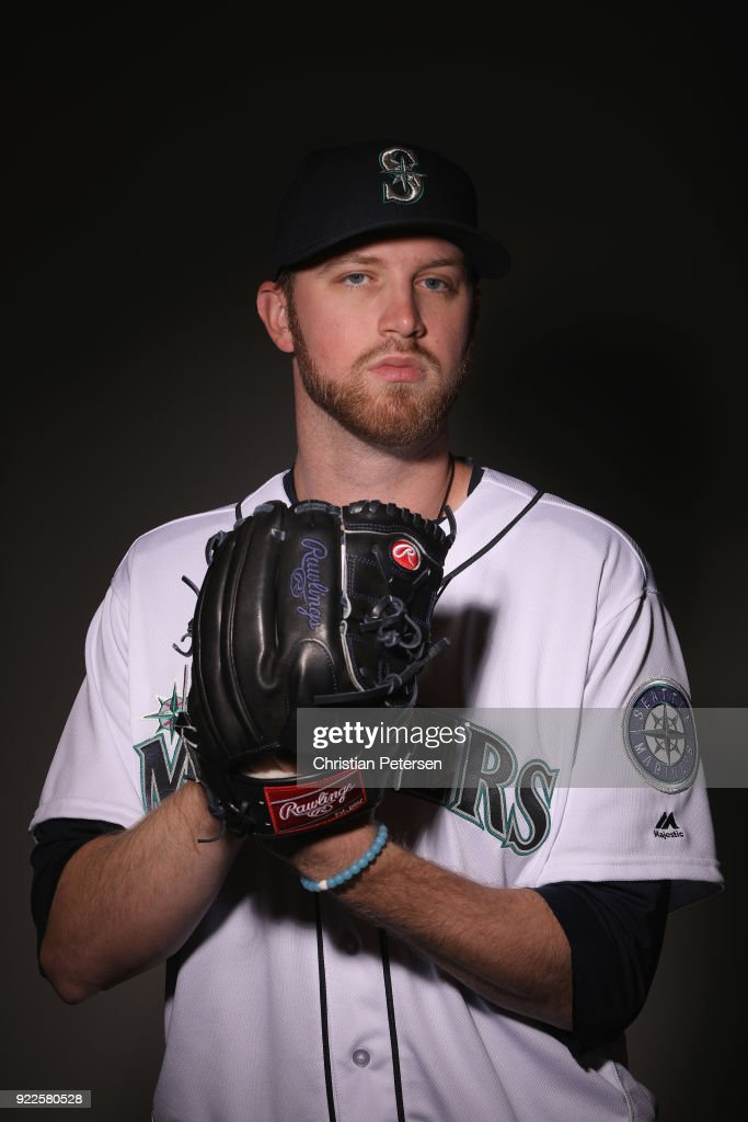 Pitcher Max Povse #44 of the Seattle Mariners poses for a portrait during photo day at Peoria Stadium on February 21, 2018 in Peoria, Arizona.