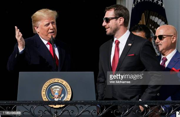 Pitcher Max Scherzer listens as US President Donald Trump welcomes the 2019 World Series Champions the Washington Nationals to the White House...