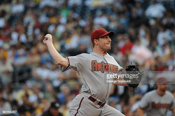 Pitcher Max Scherzer of the Arizona Diamondbacks pitches during a Major League Baseball game against the Pittsburgh Pirates at PNC Park on August 6...