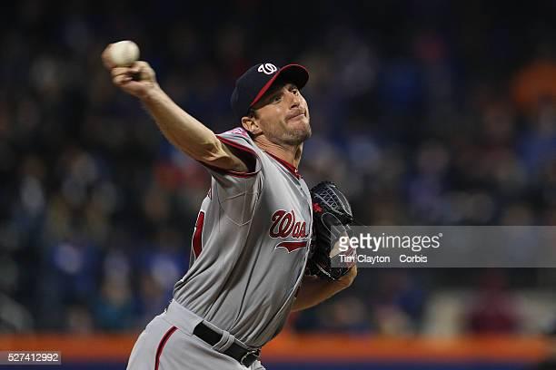 Pitcher Max Scherzer, Washington Nationals, pitching during the New York Mets Vs Washington Nationals MLB regular season baseball game at Citi Field,...