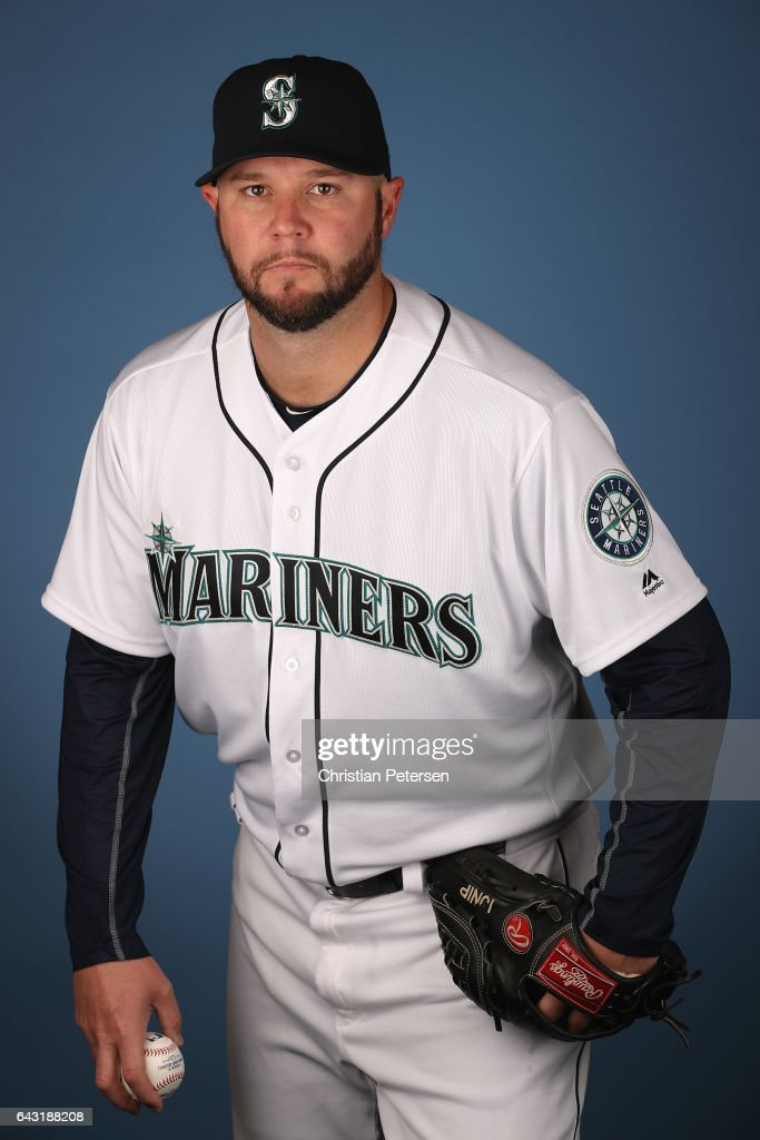 Pitcher Micah Owings #35 of the Seattle Mariners poses for a portrait during photo day at Peoria Stadium on February 20, 2017 in Peoria, Arizona.