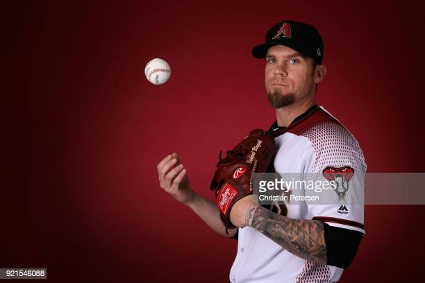 Pitcher Michael Blazek of the Arizona Diamondbacks poses for a portrait during photo day at Salt River Fields at Talking Stick on February 20 2018 in...