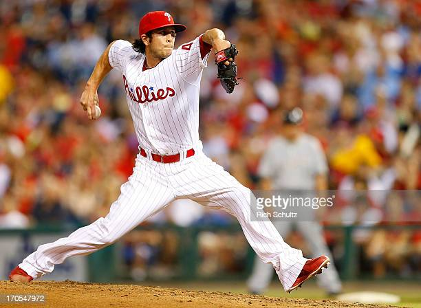 Pitcher Michael Stutes of the Philadelphia Phillies delivers a pitch against the Milwaukee Brewers in a MLB baseball game on May 31 2013 at Citizens...